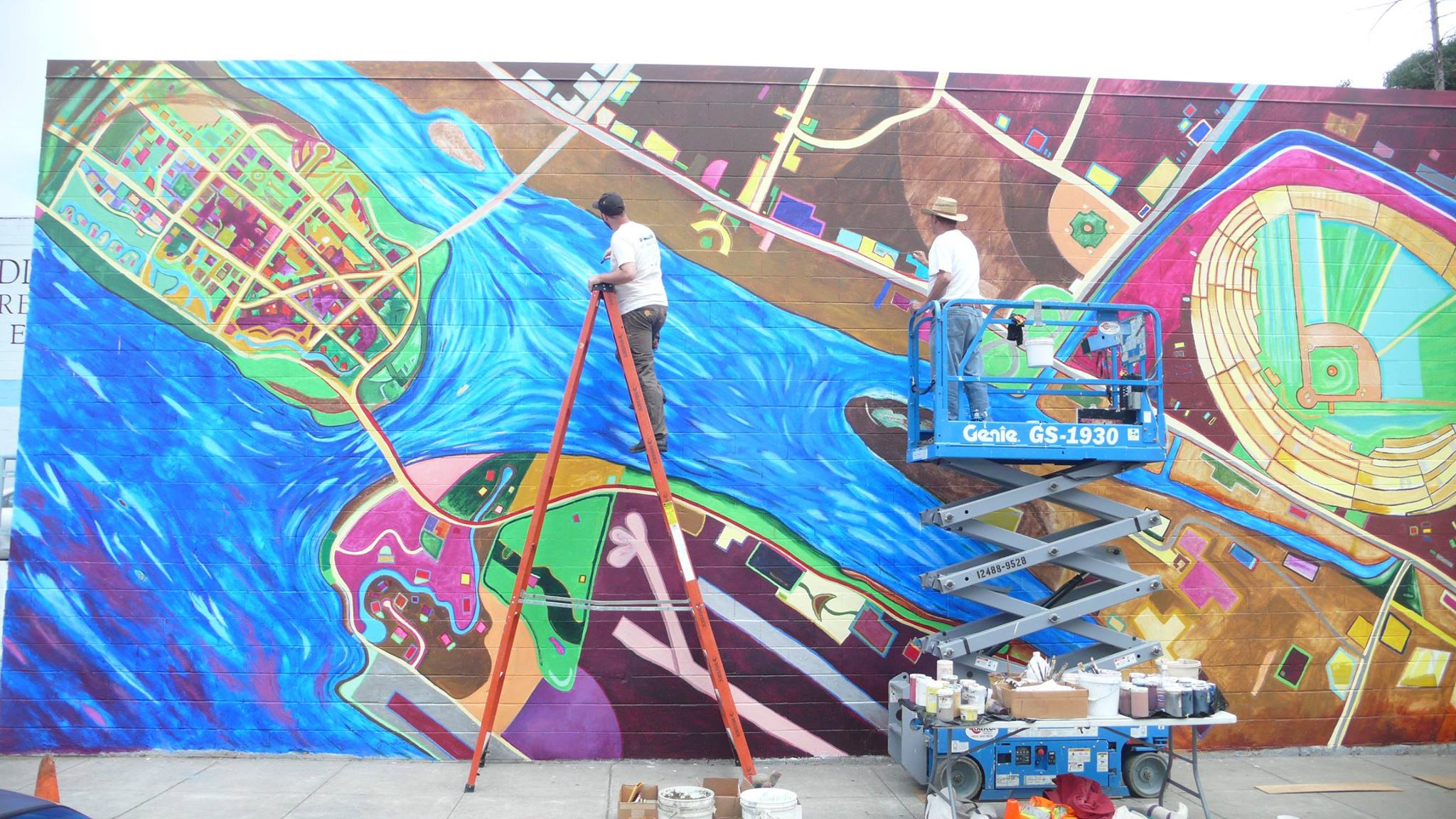 Project: Fabric of the City-2015    Media: Acrylics    Dimensions: 18' x 50'    Location: Madison and Sixth Street, Oakland