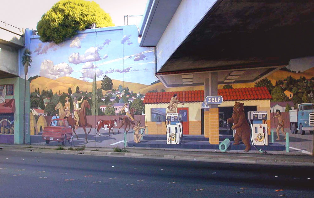 Project: Revisionist History, 80 Underpass,Richmond 1991-1995 restored multiple times-again in 2008    Media: Keim silicates    Dimensions: Varies over many larger walls    Location:San Pablo Avenue, 80 Underpass,