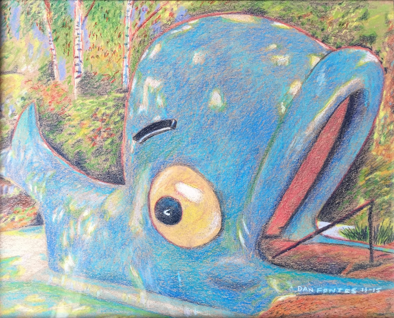 """Title: """"Willie the Whale, Children's Fairyland, Oakland"""" 11-15    Media: Prismacolors    Dimensions: 8"""" x 11""""    Collection of: Kristi Holohan, Oakland"""