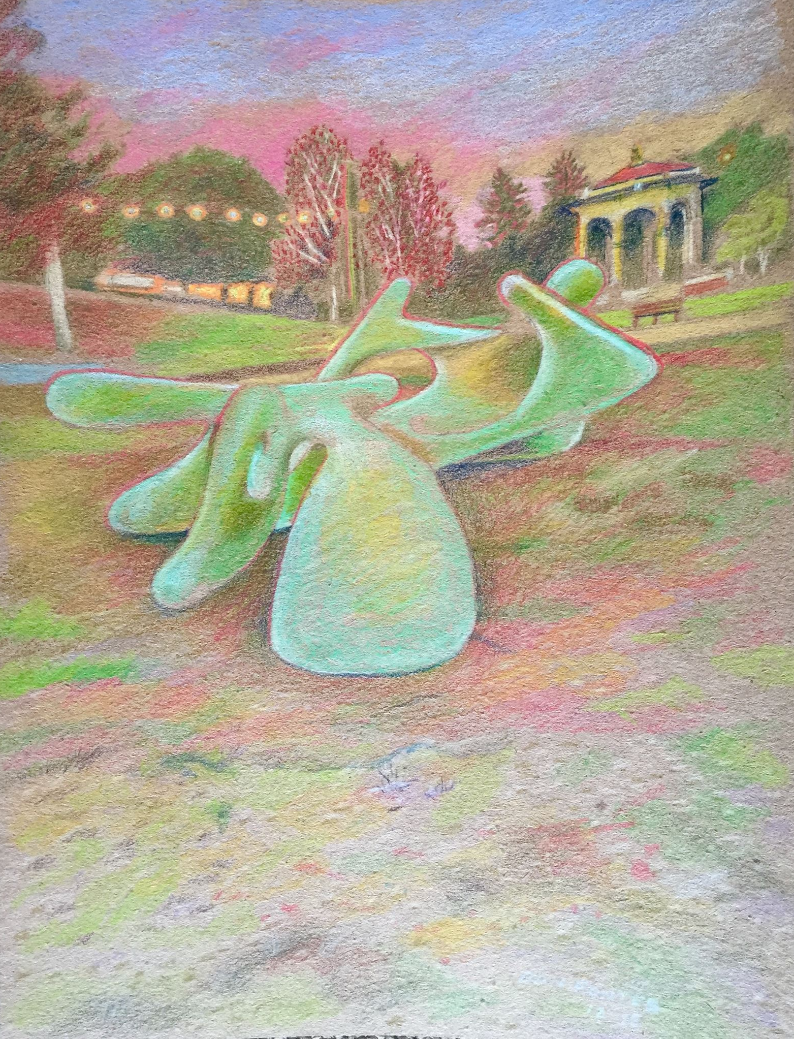 """Title: Mid Century Monster, Lake Merritt, Oakland    Media: Prismacolors    Dimensions: 8"""" x 11""""    Collection of: the artist"""