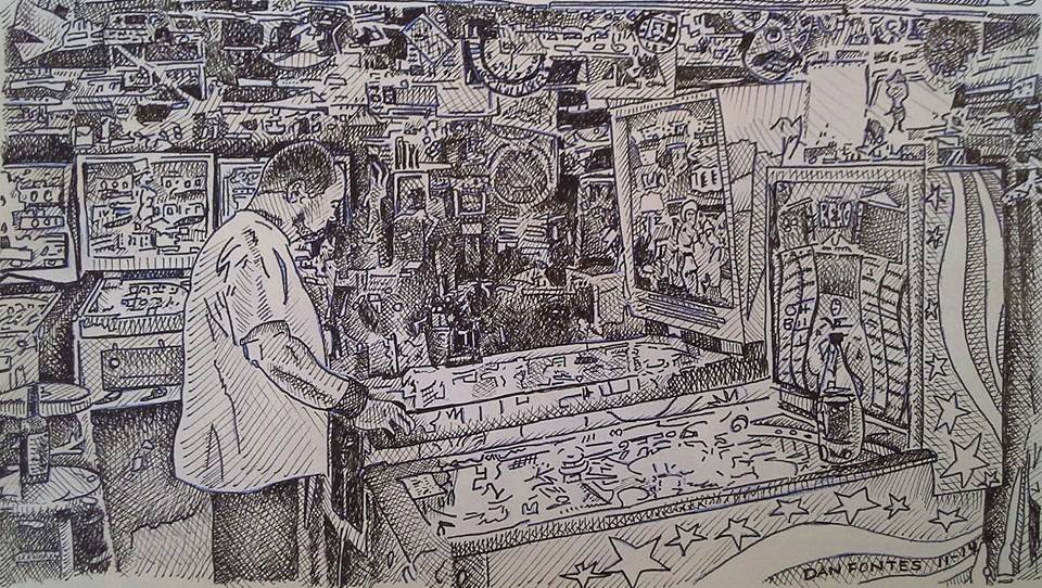 """Title: Germ in Mac's Basement, Berkeley 11-14    Media: Pen and Ink    Dimensions: 6"""" x 11""""    Collection of: Jeremy Travis, Livermore"""