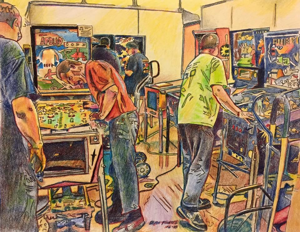 "Title: Pinball repair crew, Pinagogo show, Dixon 12-15    Media: Prismacolors    Dimensions: 8"" 11""    Collection of: Shon Dolcini"
