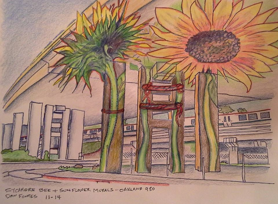 """Title: Sycamore Bee and Sunflower Murals, Oakland 980 11-14    Media: Prismacolors    Dimensions: 8"""" x 11""""    Collection of: The Artist"""