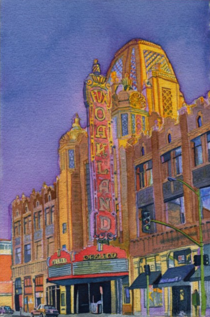 """Title: Fox Theatre, Oakland     Media: Watercolor    Dimensions: 8"""" x 11""""    Collection of: Stuart and Judith Offer"""