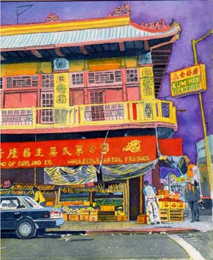 """Title: Kum Hay Teahouse, Chinatown, Oakland    Media: Watercolor    Dimensions: 8"""" x 11""""    Collection of: Julie Lucchesi"""