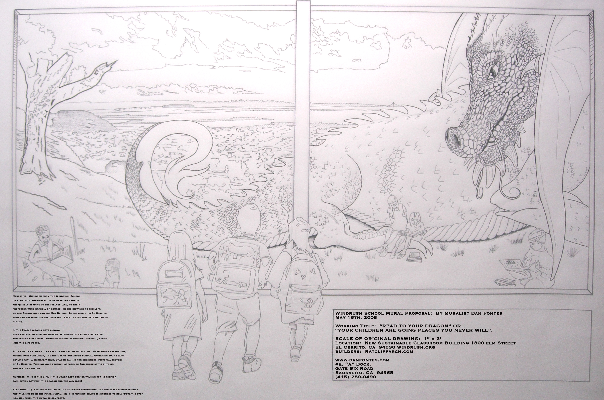 """Title: Proposal for Windrush School Mural 5-2008    Media: Pencil on Vellum    Dimensions: 24' x 36""""    Collection of: The Artist"""