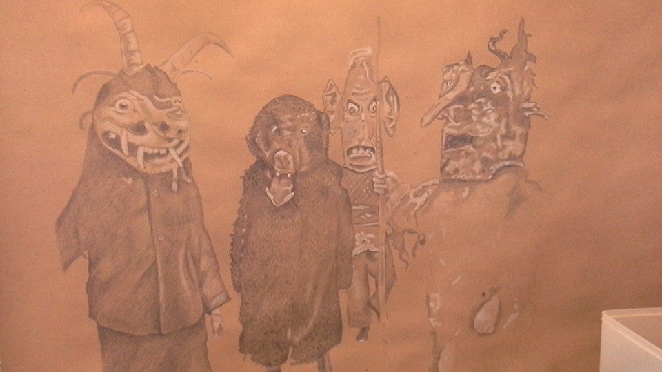 """Title: Monsters (unfinished 11-15)    Media: Pencil on newsprint    Dimensions: 24"""" x 36""""    Collection of: The Artist"""