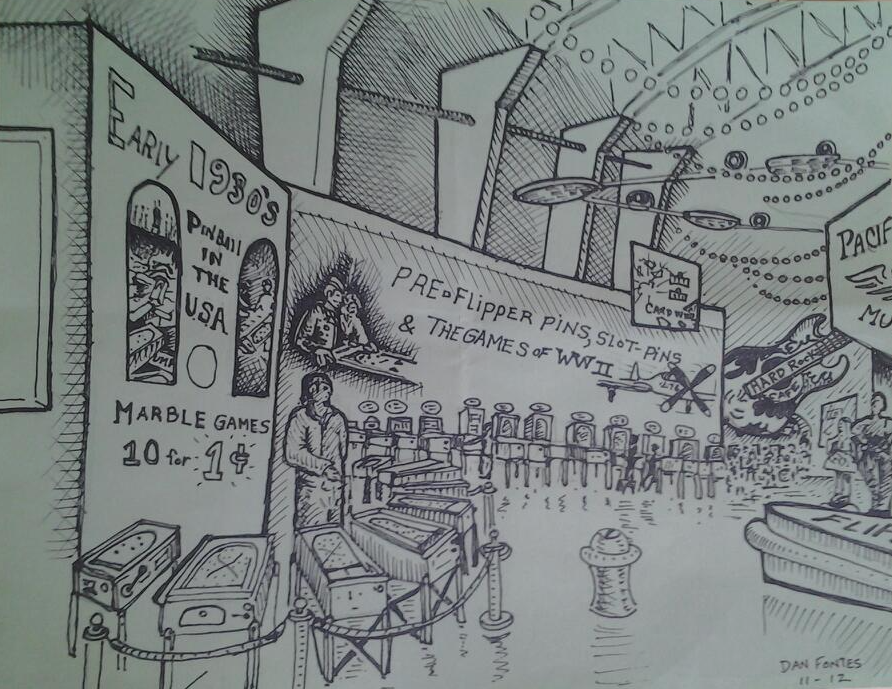 """Title: PPM at POFA 3/5 11/12    Media: Pen and Ink    Dimensions: 8"""" x 11""""    Collection of: Michael Schiess, Pacific Pinball Museum, Alameda"""