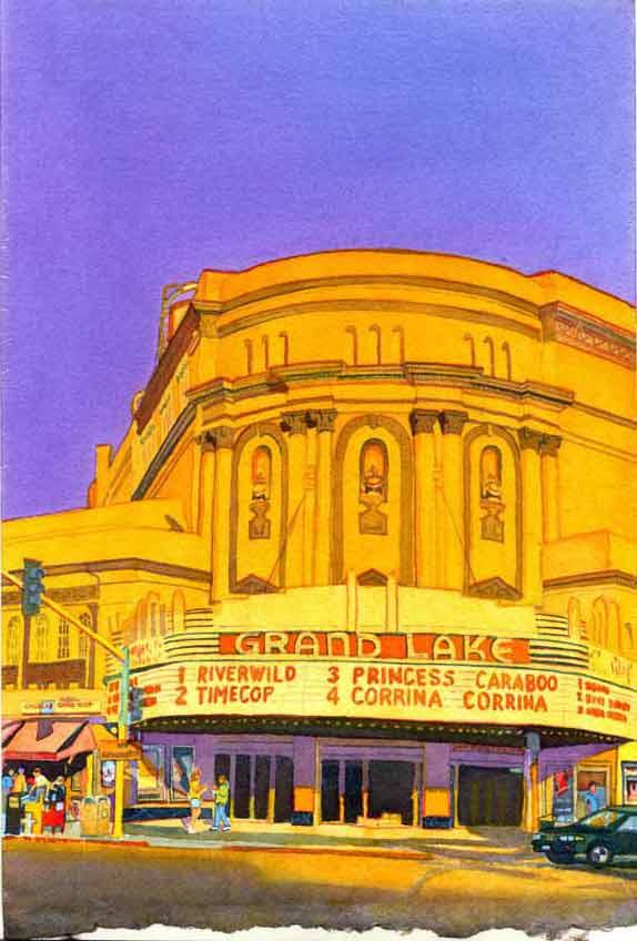 """Title: Grand Lake Theatre, Oakland    Media: Watercolor    Dimensions: 8"""" x 11""""    Sold"""