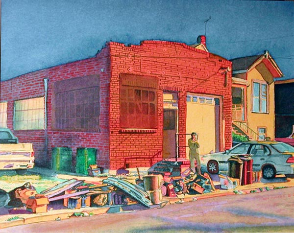 """Title: Art Works Studios, 1014-60th Street, Oakland    Media: Watercolors    Dimensions: 8"""" x 11""""    Collection of: The Artist"""