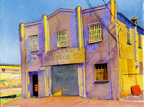 """Title: Hygienic Dog Food Co., Oakland    Media: Watercolors    Dimensions: 8"""" x 11""""    Sold"""