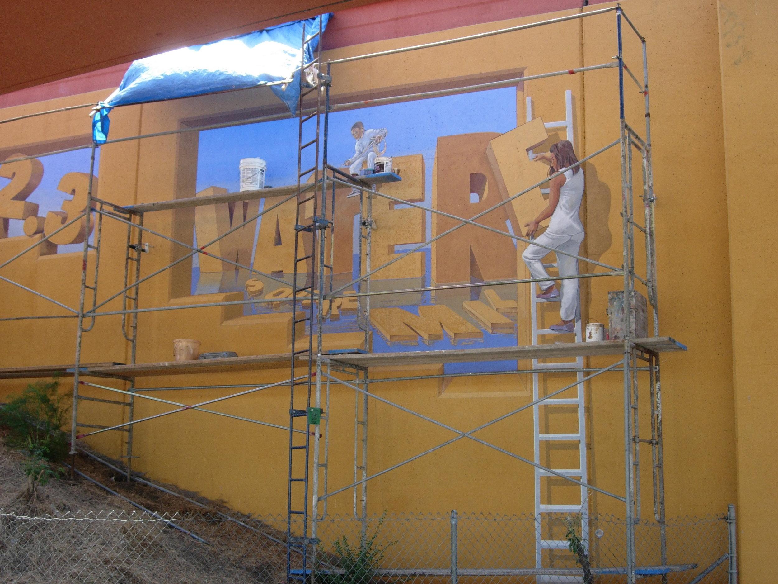 Project: McDonald Avenue 2007    Media: Keim silicates    Dimensions: Varies over many larger walls    Location: McDonald Avenue, 80 Underpass,