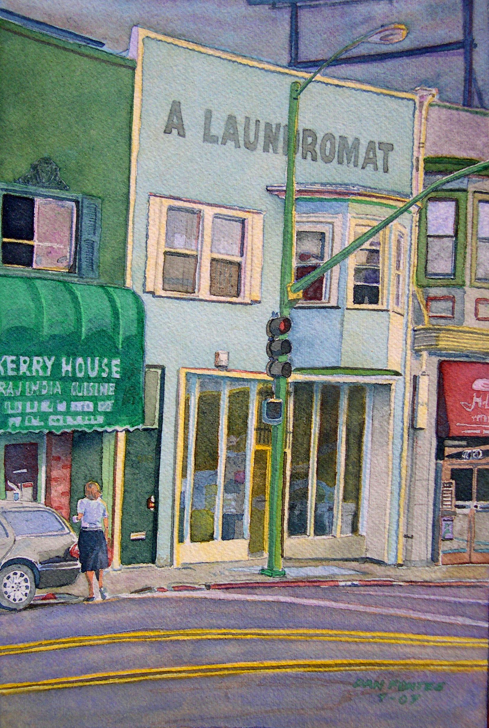 """Title: A Laundromat, Piedmont Avenue, Oakland 2007    Media: Watercolors    Dimensions: 8"""" x 11""""    Sold"""