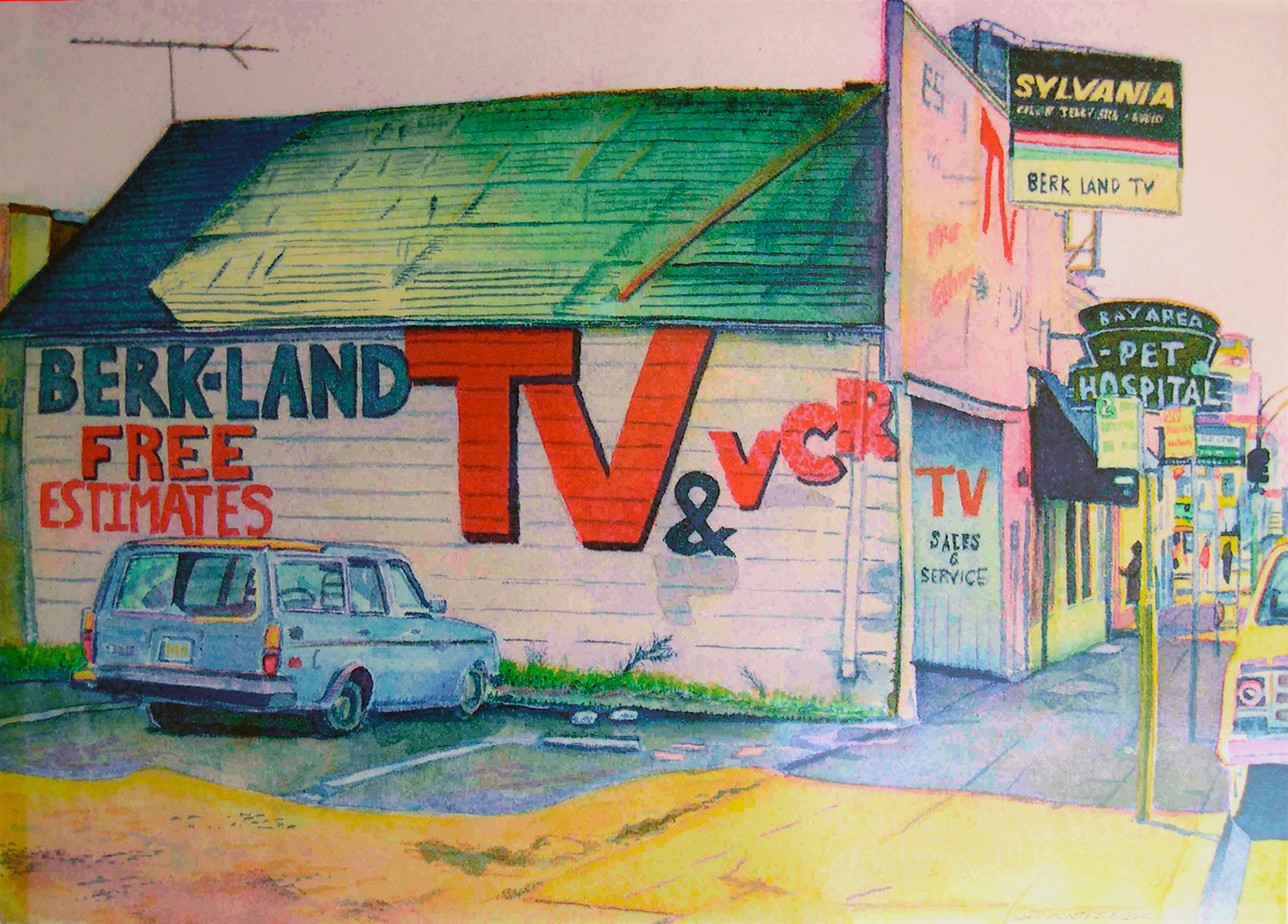 """Title: Berk-Land TV, Broadway & 51st, Oakland 2002    Media: Watercolors    Dimensions: 8"""" x 11""""    Collection of: Stephanie Russell, New York"""