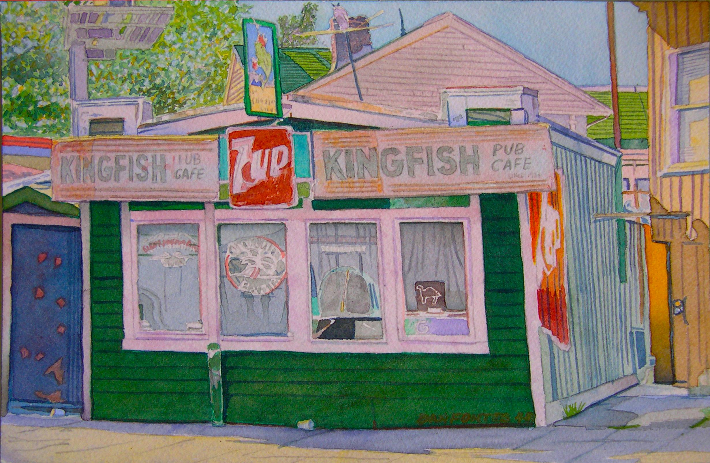 "Title: Kingfish Cafe, Claremont near Telegraph, Oakland 2007    Media: Watercolors    Dimensions: 8"" x 11""    Collection of: Kristina Peterson, El Cerrito"