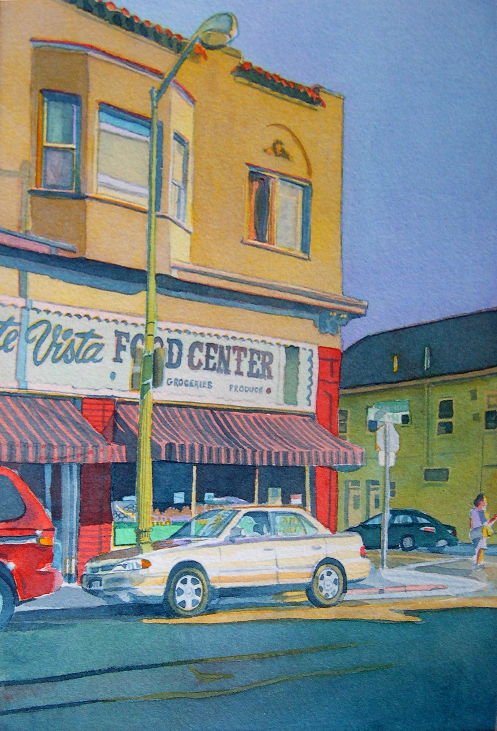 """Title: Monte Vista Market, Oakland 2003    Media: Watercolors    Dimensions: 8"""" x 11""""    Collection of: Kristina Peterson, El Cerrito"""