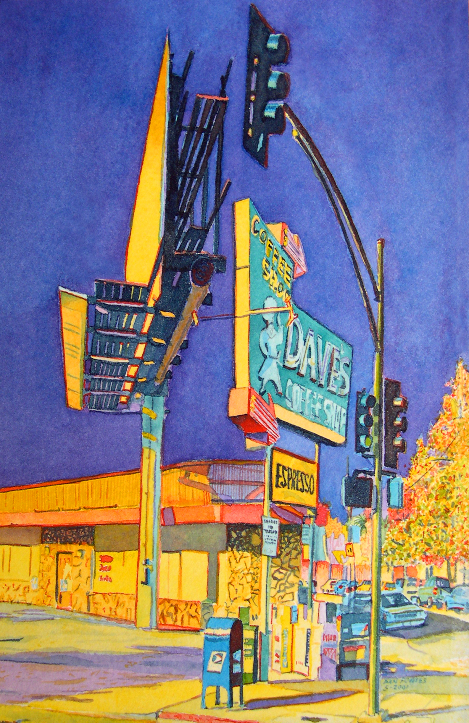 """Title: Dave's Coffee Shop, Broadway, Oakland 2001    Media: Watercolors    Dimensions: 8"""" x 11""""    Collection of: The Artist"""