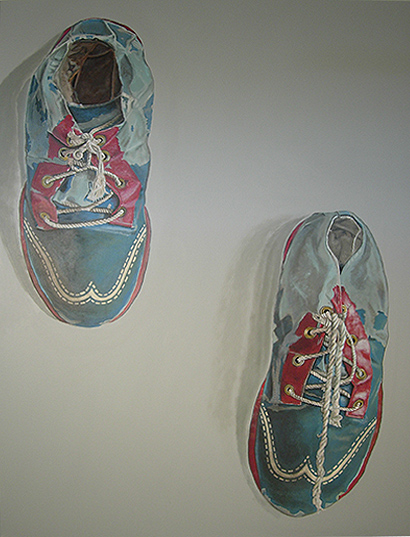"""Title: Theatrical Shoes-2007   Media: Acrylics on Canvas   Dimensions: 36"""" x 48""""   Sold to private collector, Sausalito"""
