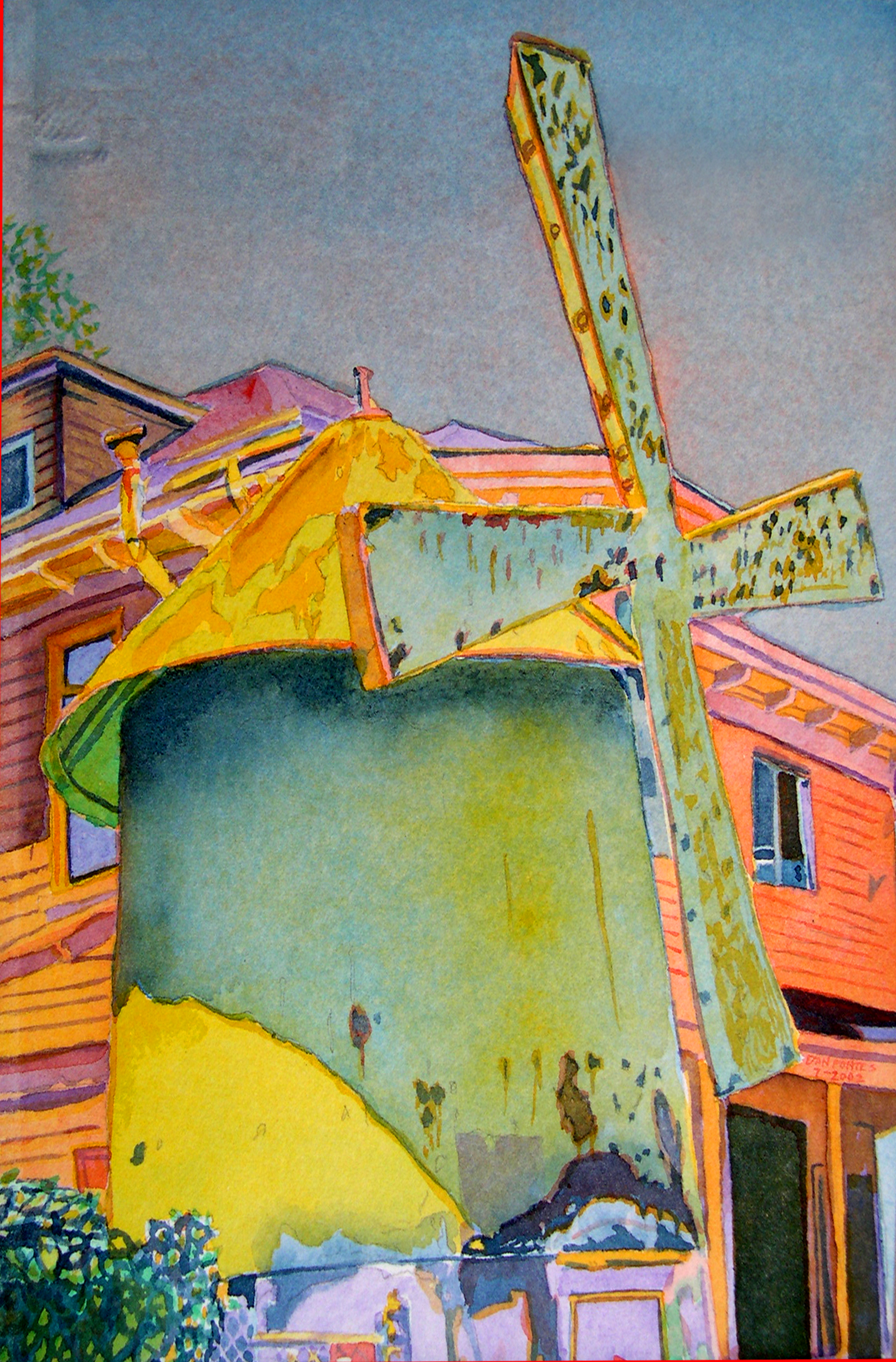"""Title: Windmill on 59th Street & Telegraph, Oakland 2002    Media: Watercolors    Dimensions: 8"""" x 11""""    Collection of: The Artist"""