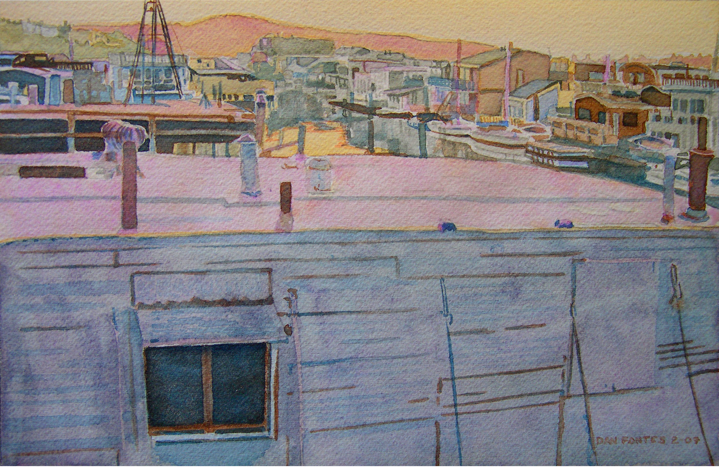 """Title: View from A Dock, Gate Six, Sausalito 2009    Media: Watercolors    Dimensions: 8"""" x 11""""    Collection of: The Artist"""