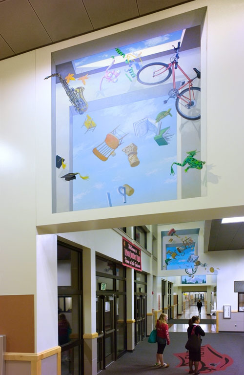 Project: As Time Floats By-2010    Media: Acrylics    Dimensions: Large scale school installation    Location: Aylen Junior High School, Payallup,Washington.    Assistant to: John Wehrle-more at  www.troutinhand.com