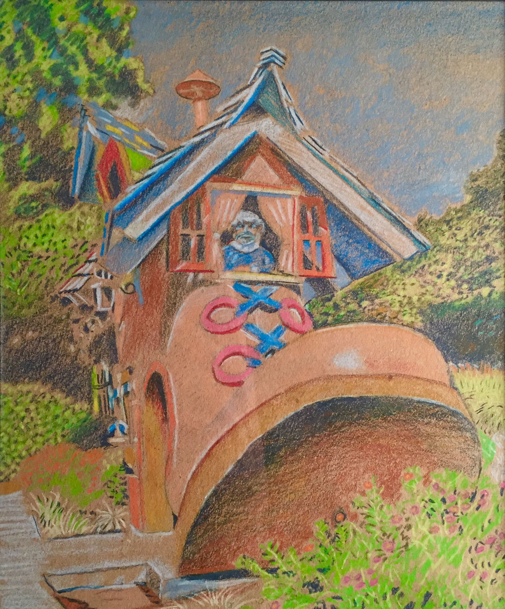 """Title: """"Shoe Entryway, Children's Fairyland, Oakland"""" 11-15    Media: Prismacolors    Dimensions: 8"""" x 11""""    Collection of: The Artist"""