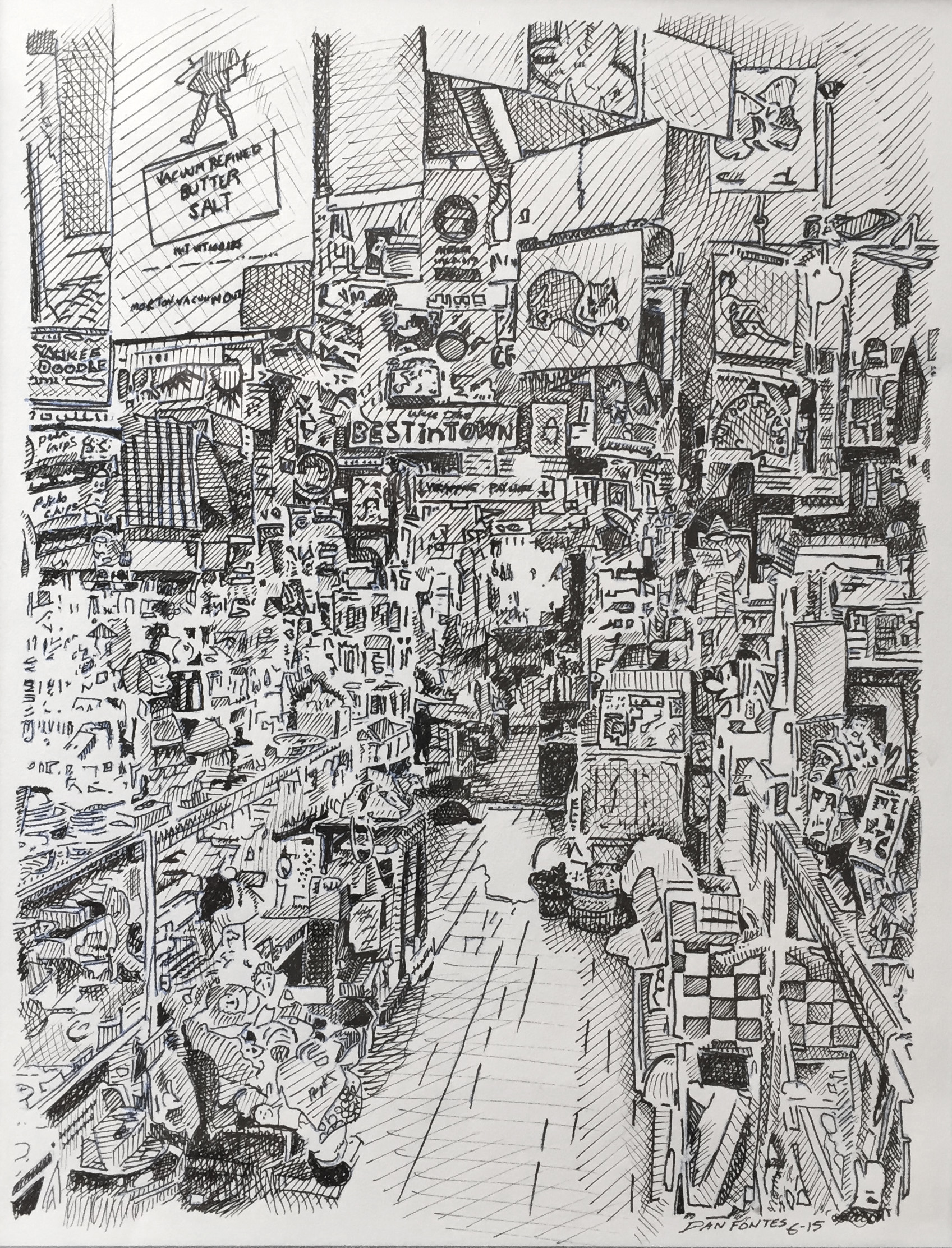 """Title: """"Who'se on Second, Crockett 6-15    Media: Pen and Ink    Dimensions: 8"""" x 11""""    Collection of: The Artist"""