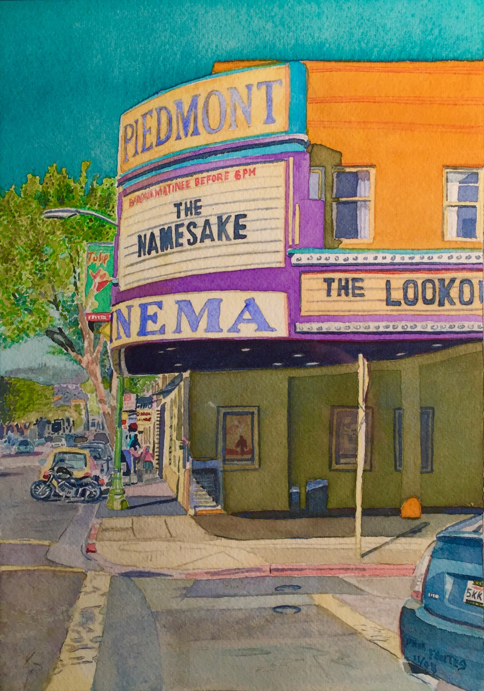 """Title: Piedmont Avenue Theatre 2008    Media: Watercolors    Dimensions: 8"""" x 11""""    Collection of: The Artist"""