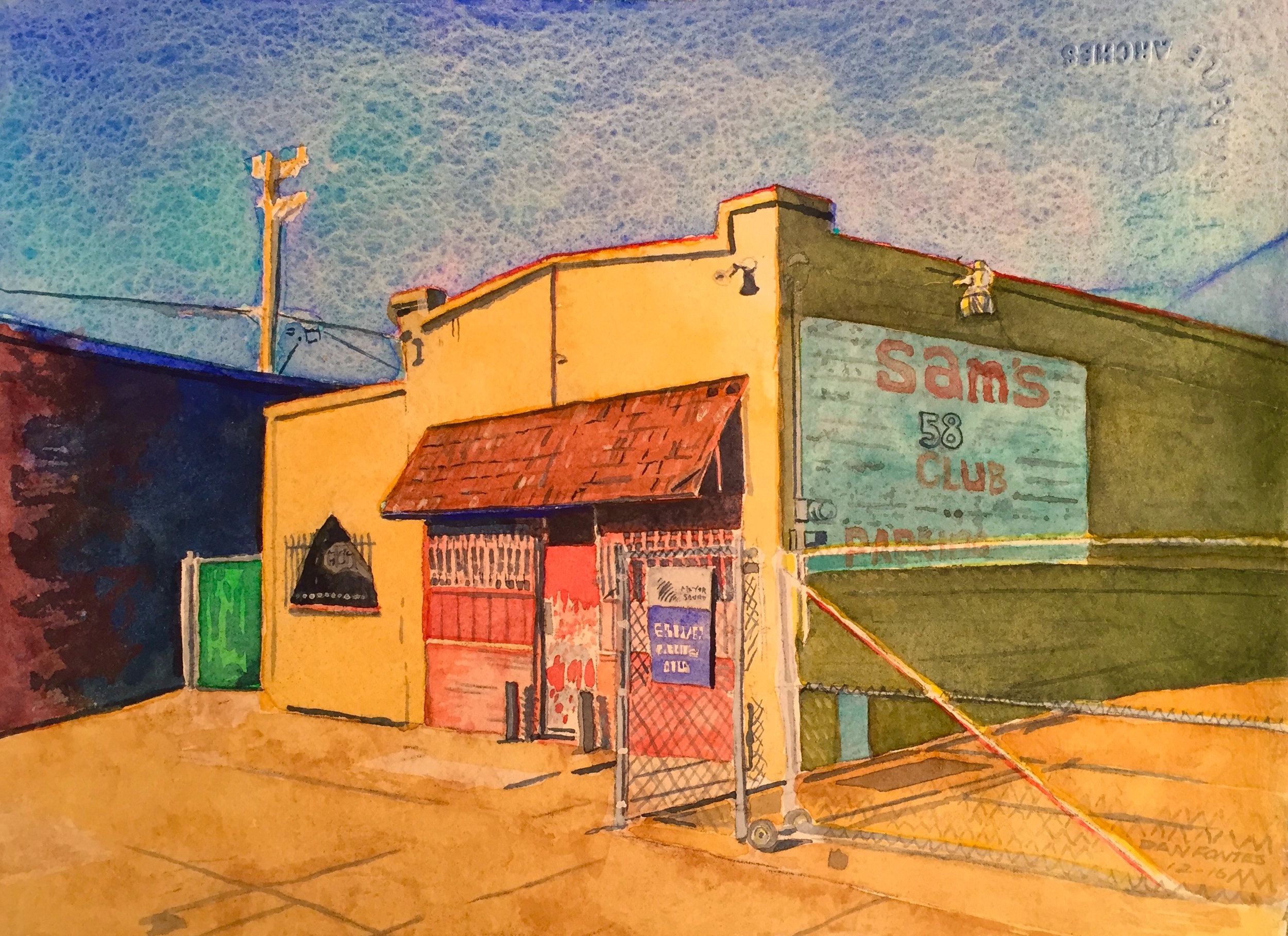 """Title: Sam's 58 Club    Media: watercolors    Dimensions: 8.5"""" x 11""""    Collection of the Artist"""