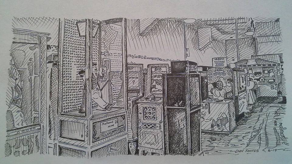 """Title: """"Musee Mécanique 2"""" 6-14    Media: Pen and Ink    Dimensions: 8"""" x 11""""    Collection of: The Artist"""