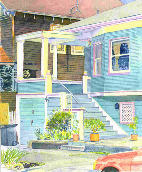 """Title: 1815 Parker St. Berkeley    Media: watercolors    Dimensions: 8.5"""" x 11""""    Collection of the Artist"""