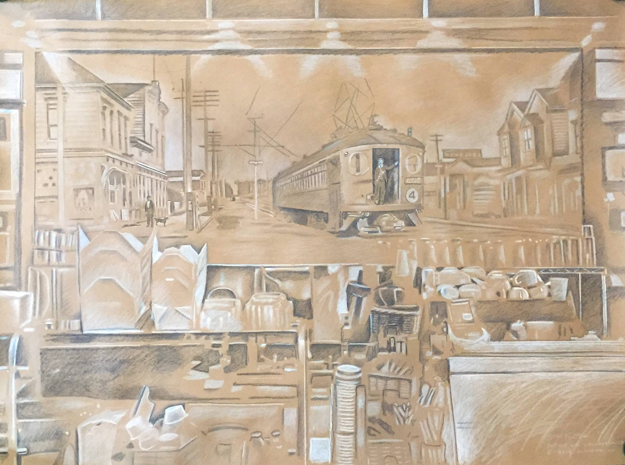 """Title: Early concept art for WesCafe mural    Media: Prismacolor pencils    Dimensions: 24"""" x 36""""    Collection of: The Artist"""