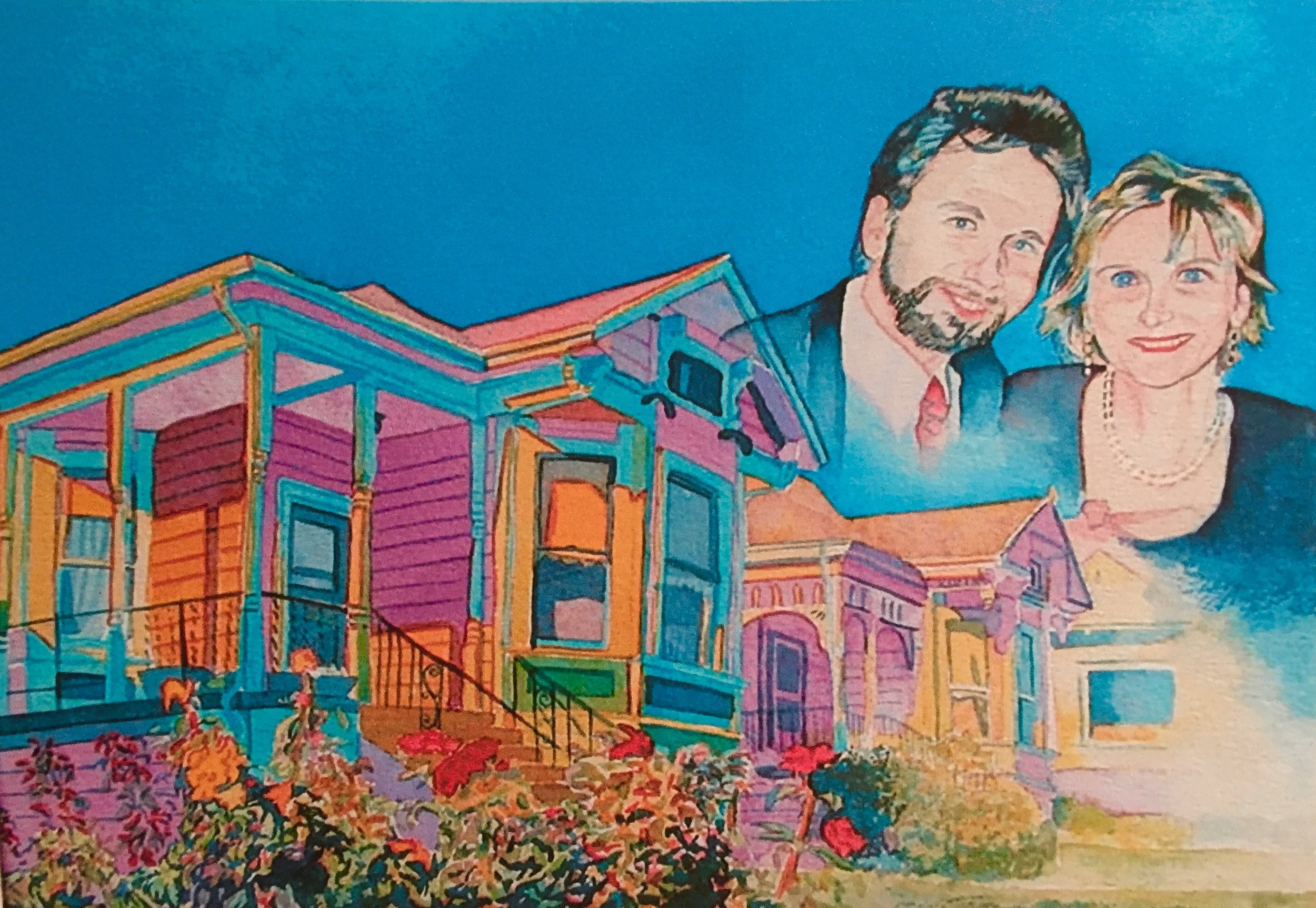 """Title: Jon and Kimberly Murphy    Media: Watercolors    Dimensions: 8"""" x 11""""    Collection of: The Murphys"""