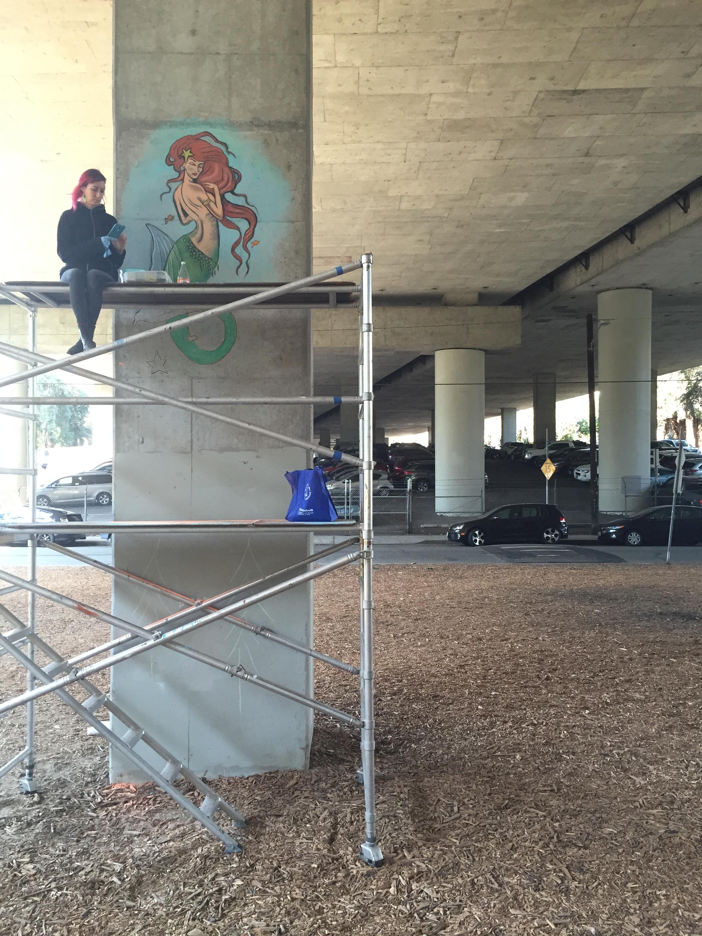 Title: Mermaid    Media: Chalk on concrete    September 2017