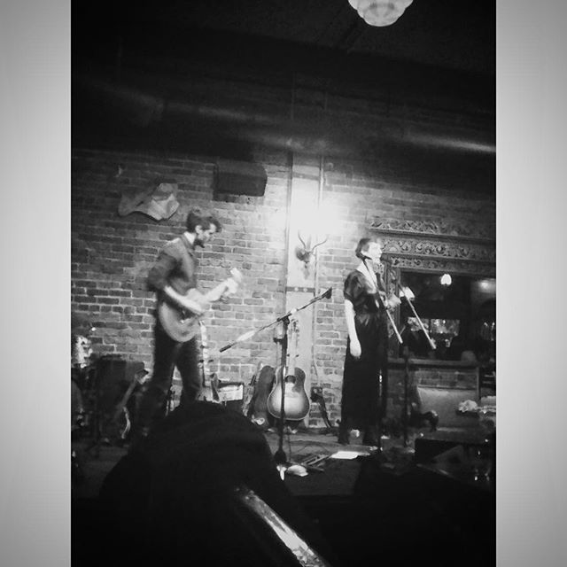 Flip fone foto of Nicholas and me by Paulina. Old friends and old technology. A lovely sliver of a Thursday night. . Ears peaked for the EP coming April 5 from @pacifictrio . . #whiteeaglesaloon #pdxmusic #oldfriends #newmusic