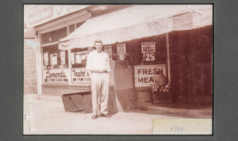 Joe Lamont Sr. in front of Lamont's Self Service, 1950