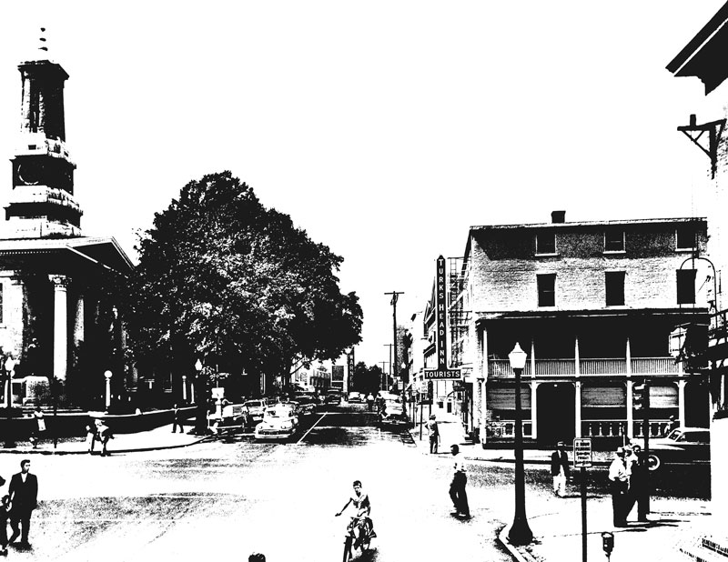 Turk's Head Inn from High and Market Street shot by Ned Goode, 1949