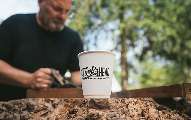 Working hard. Fueled by #TurksHeadRoasters 💪 . . Send us photos or mention us with your Turk's Head #Coffee to be featured and win #FREECOFFEE! Live edge table and model by: @stevediantonio