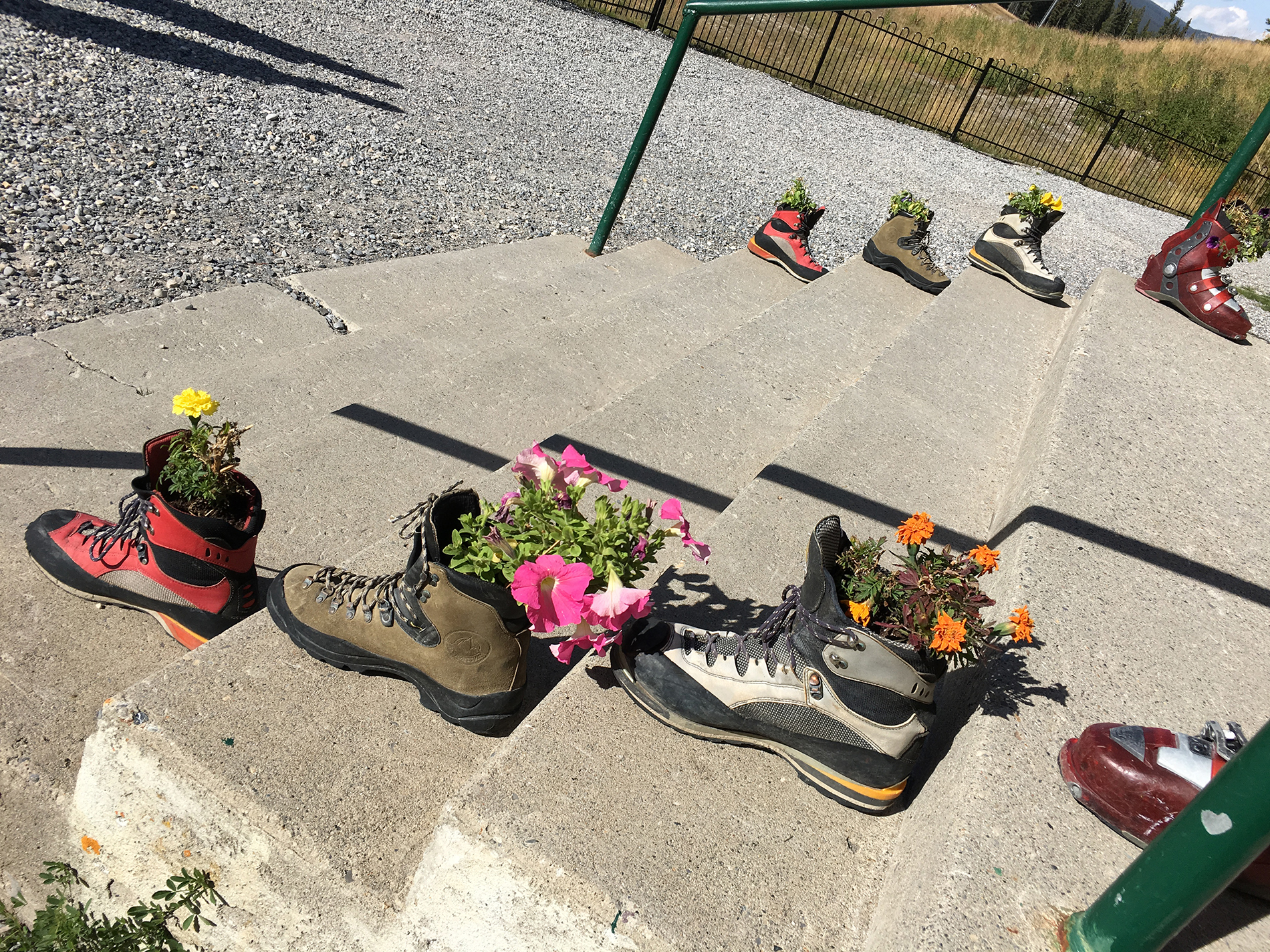 Hiking Boot planter display outside of the main lodge at the Mt. Norquay Ski Area.