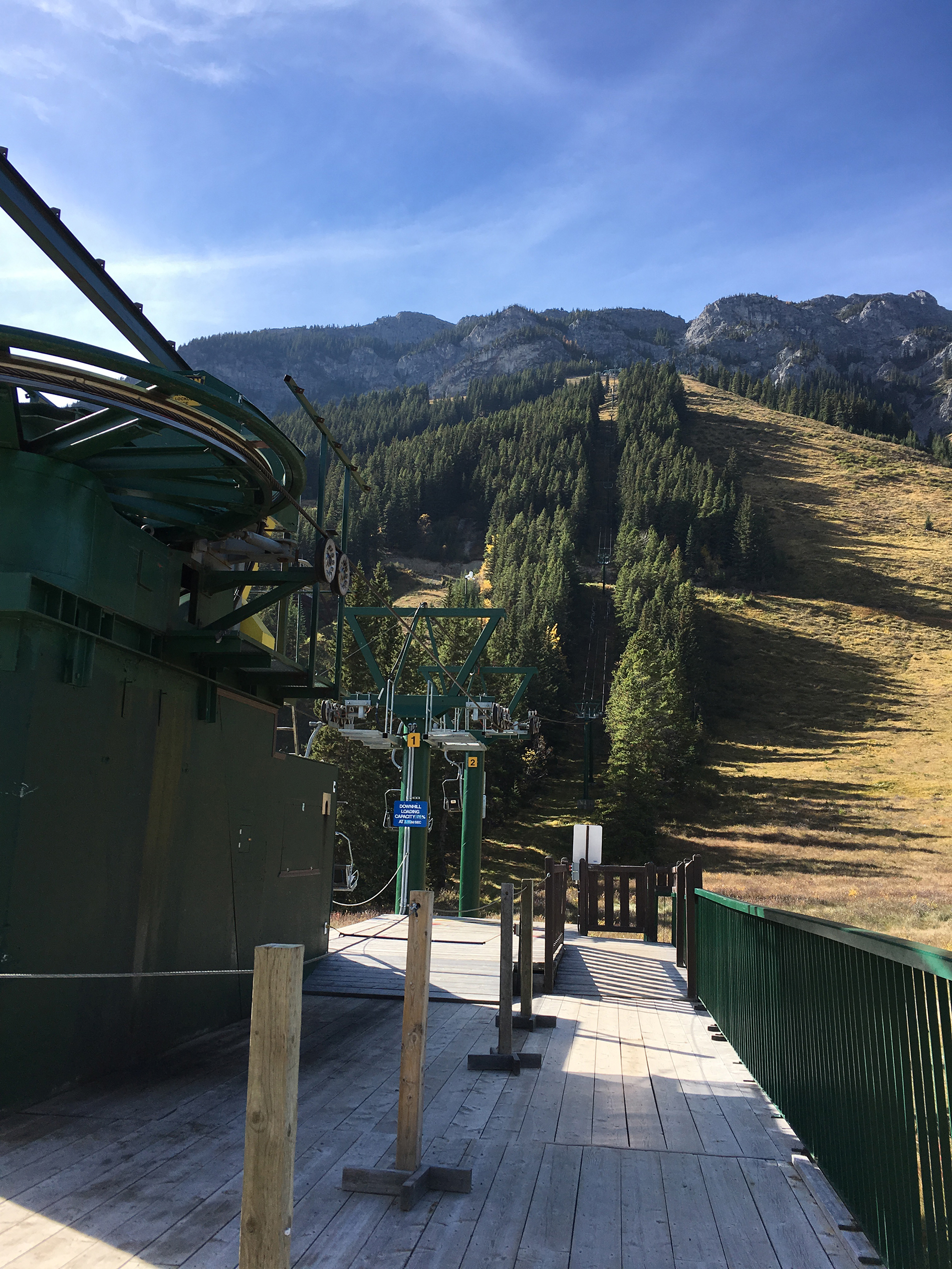 The Ski lift at the Mt. Norquay Ski lift operates in Summer to take adventerers up to the Via Ferrata at Banff National Park.