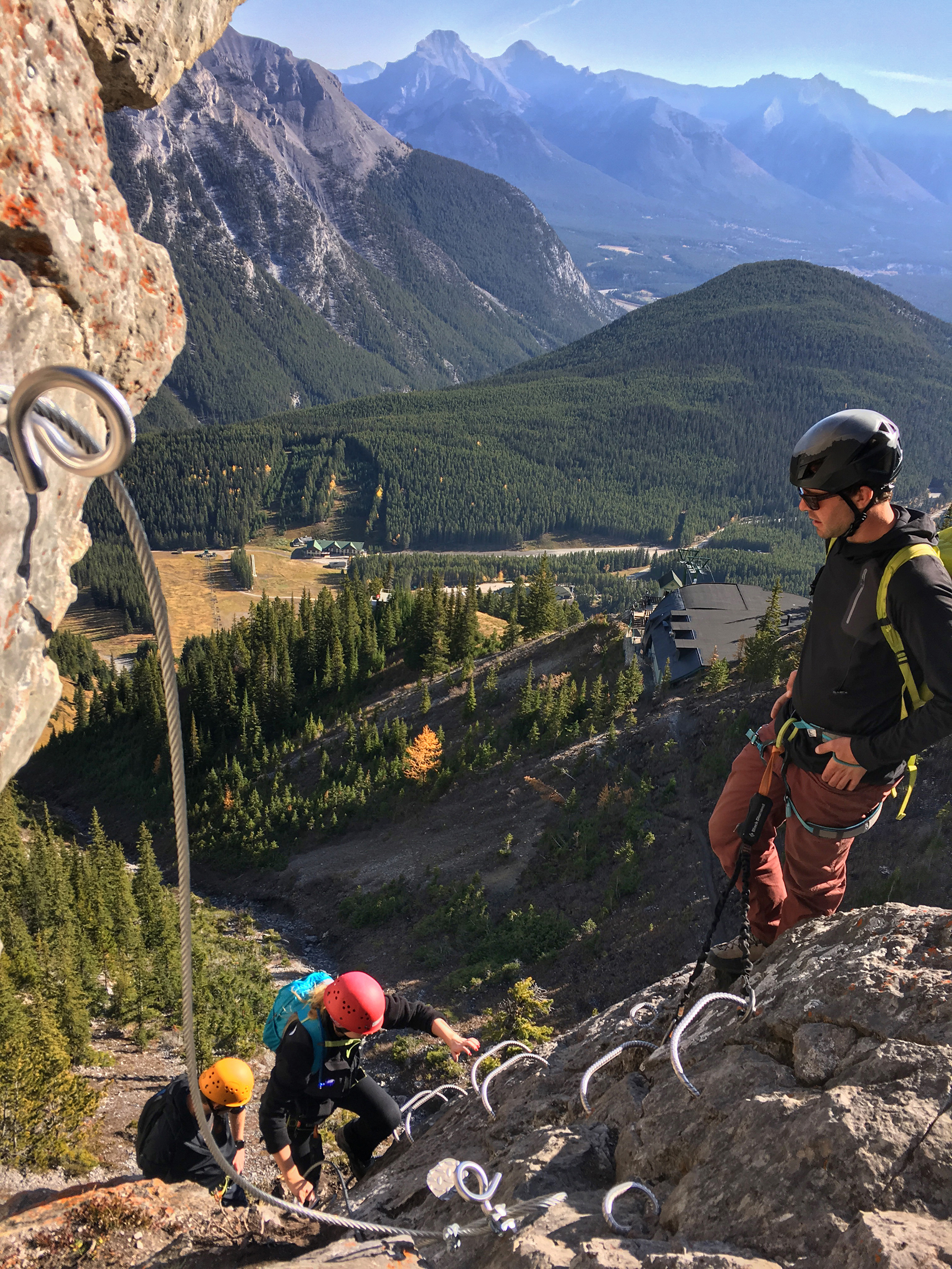Having a blast climbing the Via Ferrata in Banff National Park.