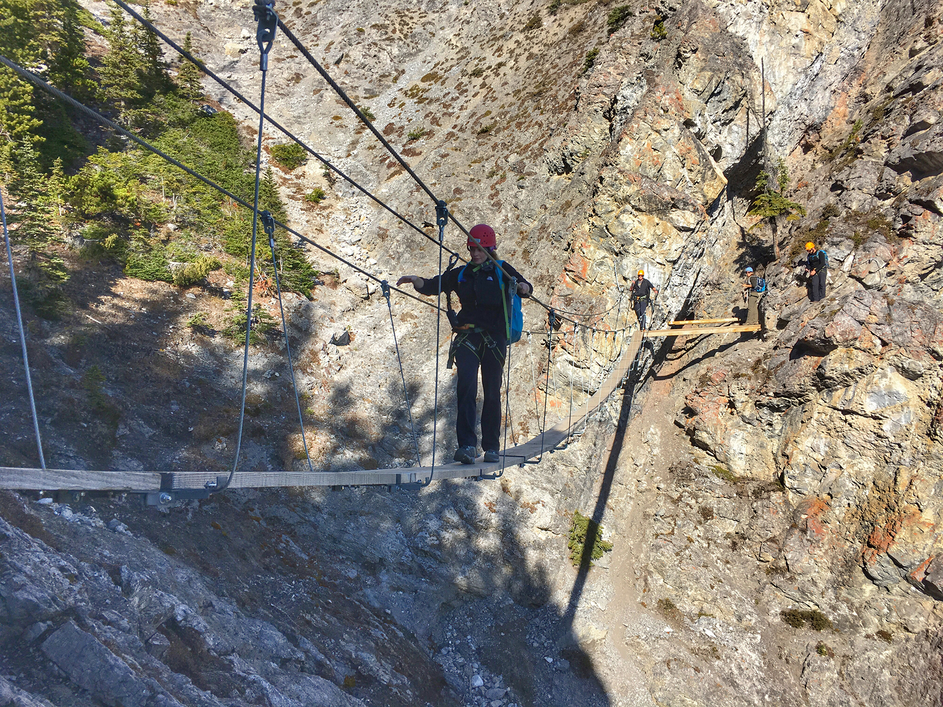 Don't look down while crossing the suspension bridge in the mountains of Banff National Park!