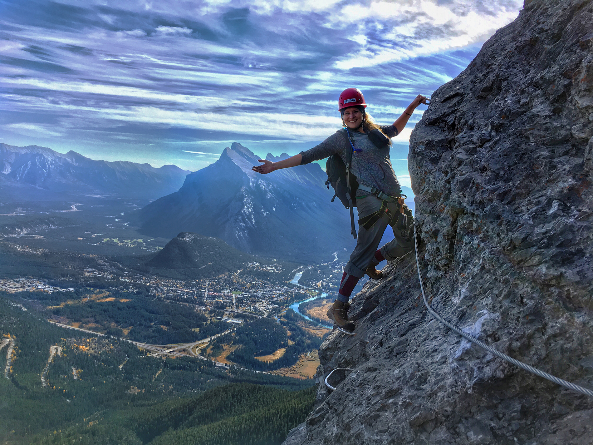 First time climber on Banff's Via Ferrata