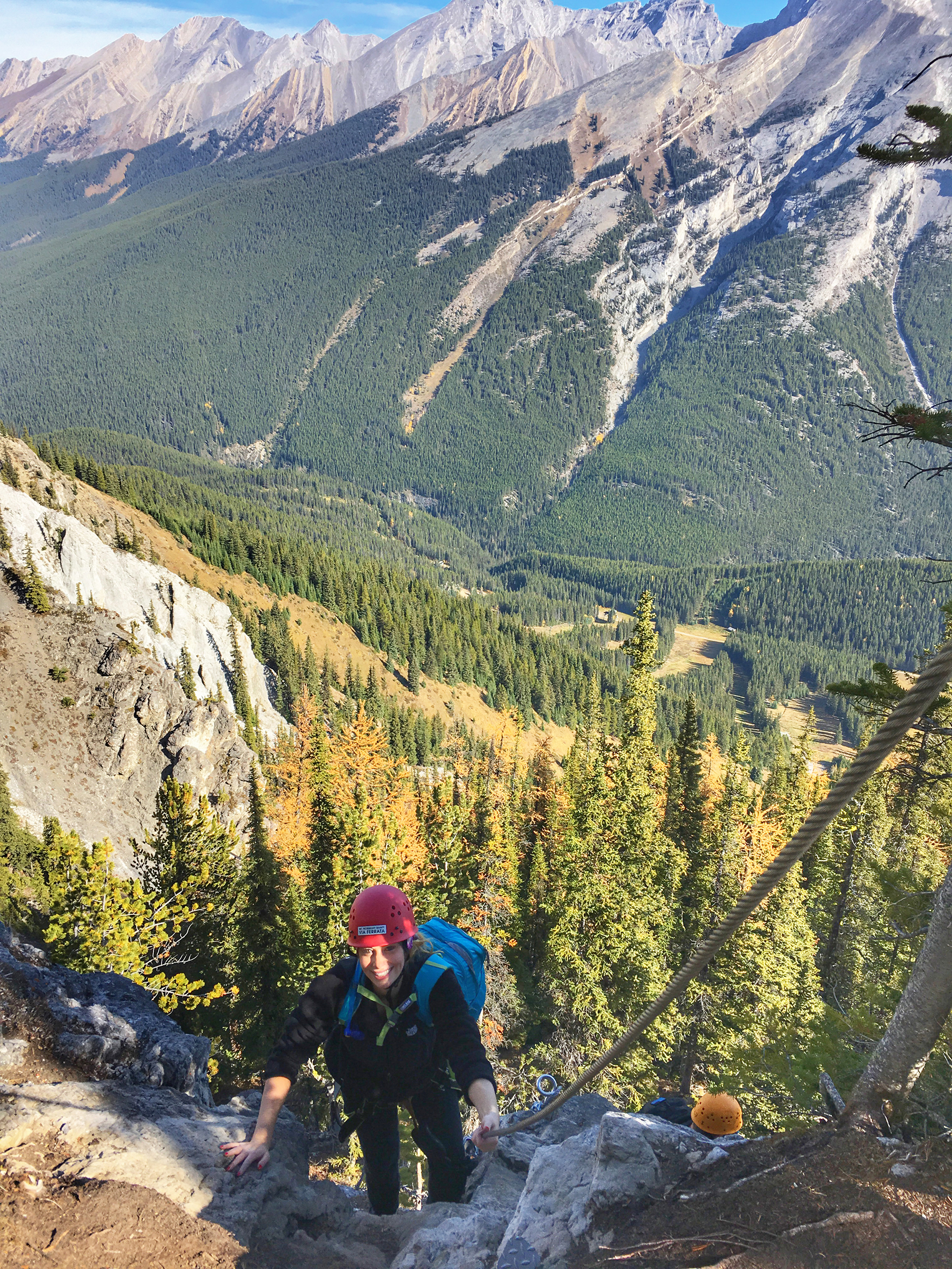Making our way up the Via Ferrata in Banff.
