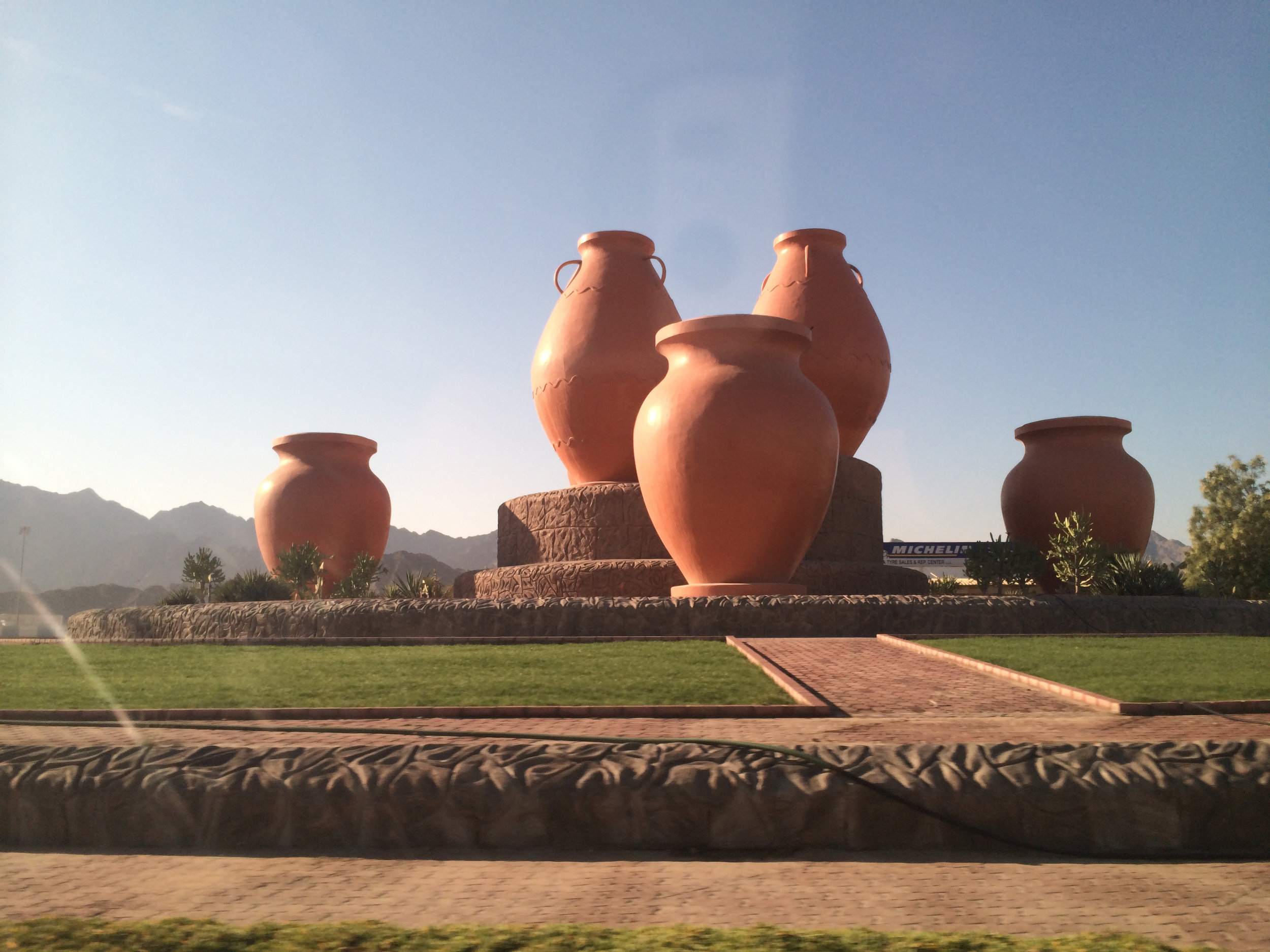 These giant clay pots were our marker on the way to the Oman border crossing in  Fujairah.