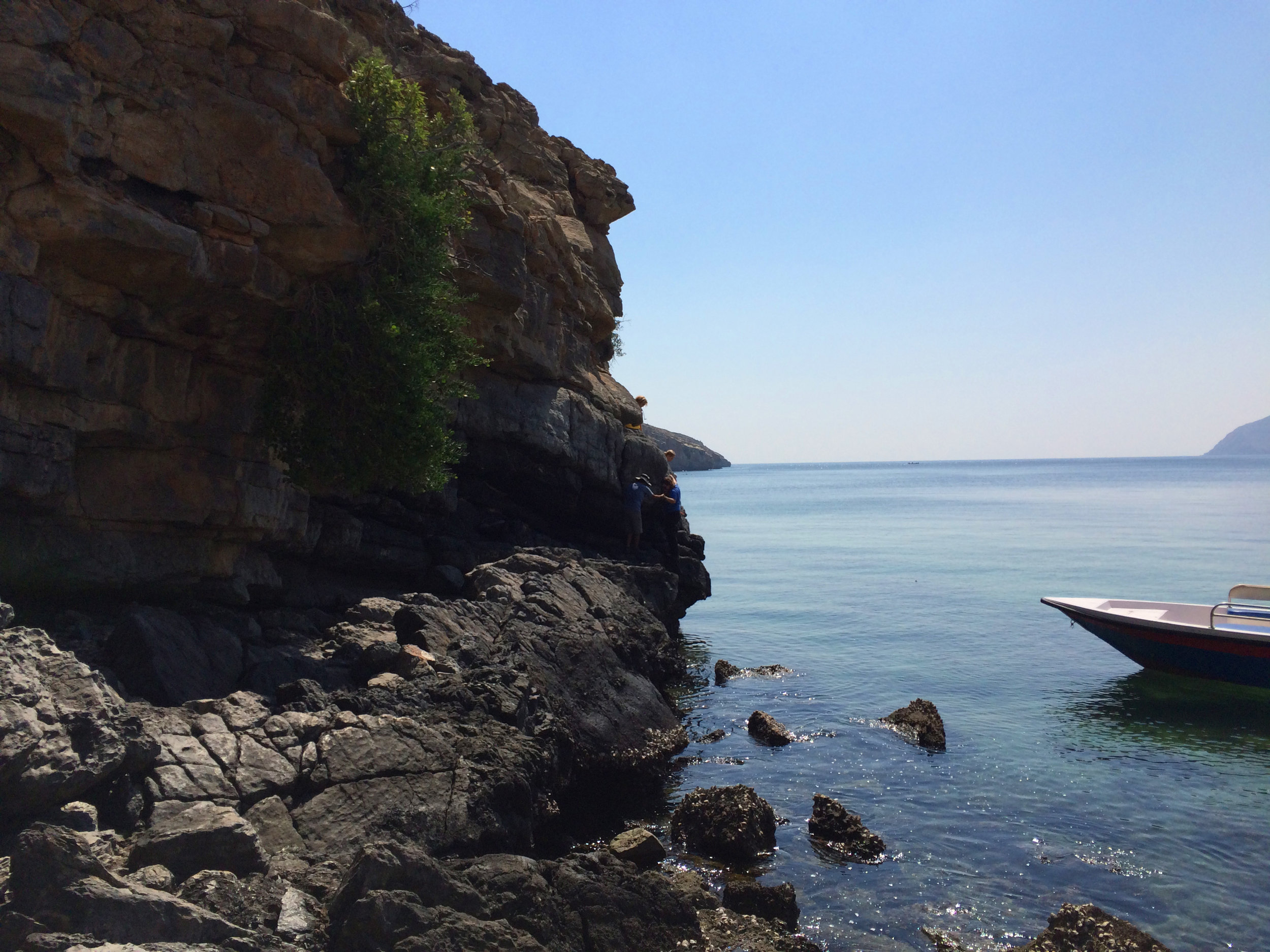The scenic boat ride on the Aqaba-Lima trek in Oman with Absolute Adventure, cruising around the  Musandam Peninsula.