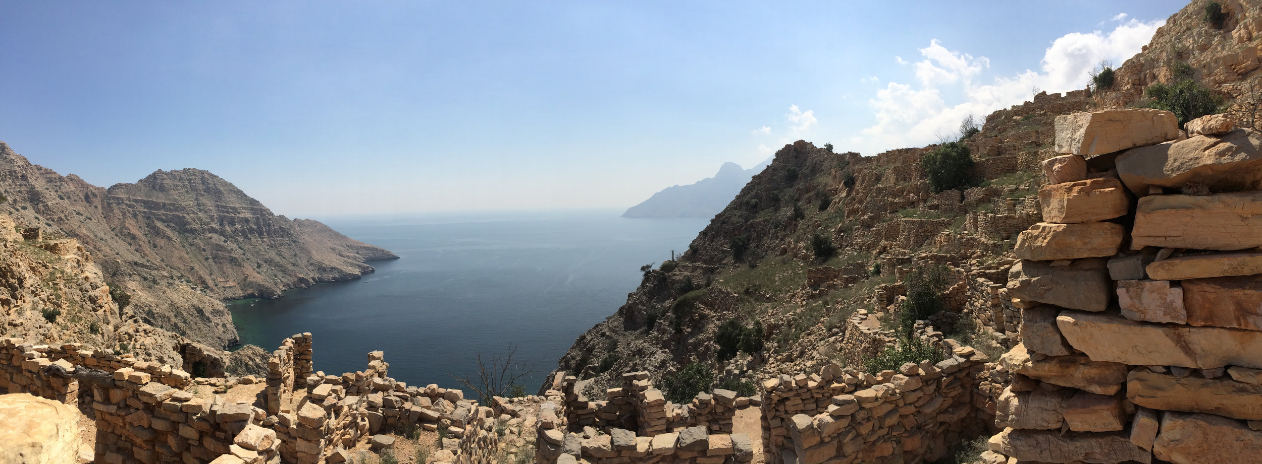 Panoramic views while trekking over a mountain on the  Musandam Peninsula in Oman with Absolute Adventure