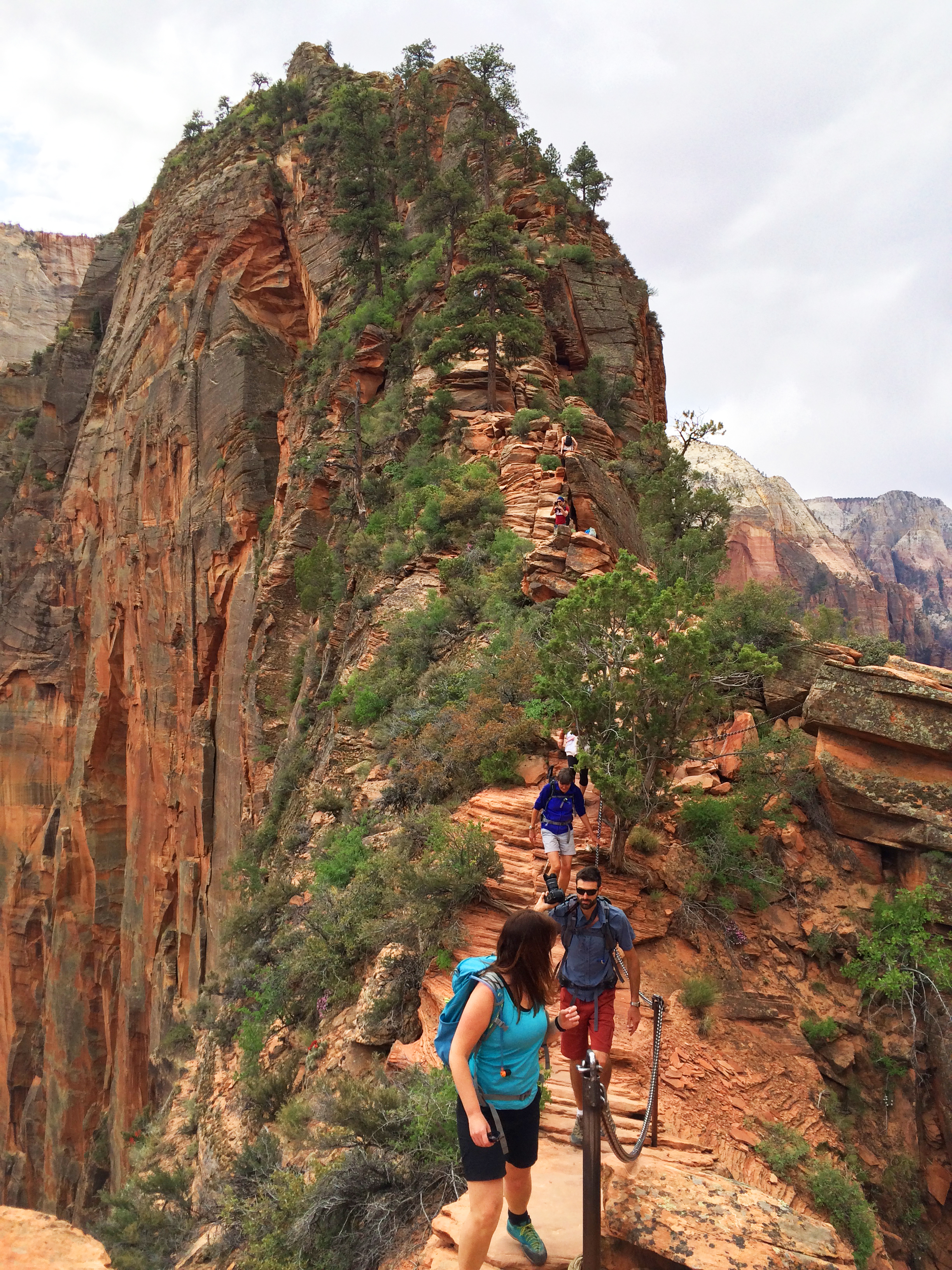 Hiking to the summit at Angel's Landing