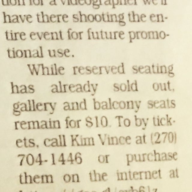 We just read two of our favorite words in the @crittendpress Hurry to buy tickets in gallery and balcony while they're still left, b/c the Tapestry has #SOLDOUT reserved seating for #TapestryRemoveTheVeil APR 27 #marionky @communityartsfoundation #fohshall thetapestry.eventbrite.com or call 270.704.1446 #queenmeetspavarotti tapestryoperock.com @crittendenpress #rock #opera #operock #fusion #livemusic #livemusicvenue