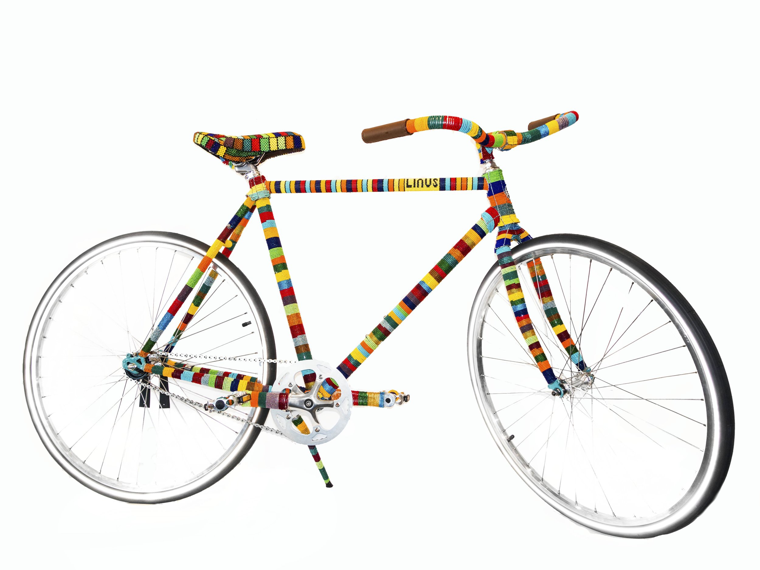 Ralph Ziman   AfriKa_47 X Linus , 2019 Beads on a Linus bicycle 40 x 70 x 24 inches  Value $12,000 - SOLD